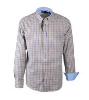 Casual Overhemd Blauw Bruin Ruit