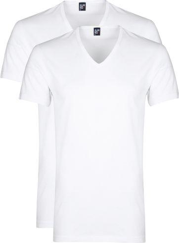 Alan Red Dean V-Hals T-Shirt Wit (2Pack)