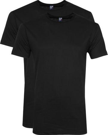 Alan Red Derby O-Ausschnitt T-Shirt Black (2er-Pack)