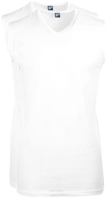 Alan Red Minto Singlet No Sleeves White 2-Pack