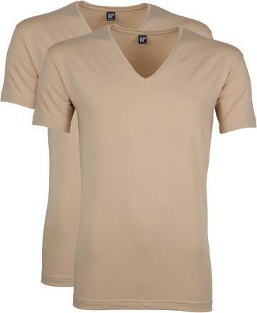 Alan Red Stretch V-Neck T-Shirt Beige 2er-Pack