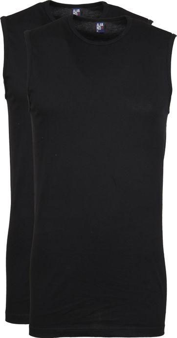 Alan Red T-Shirt Montana Ärmellos Schwarz (2er-Pack)
