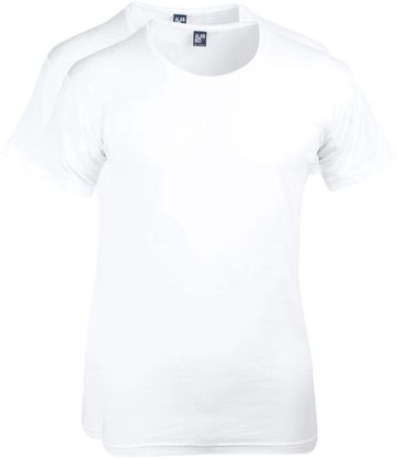 Alan Red T-shirt Wide Round Neck White 2-Pack