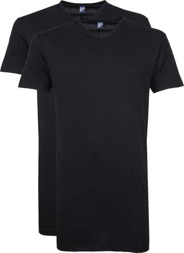 Alan Red Vermont V-Hals T-Shirt Black 2Pack