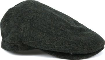 Barbour Barlow Flat Cap Herringbone Dark Green