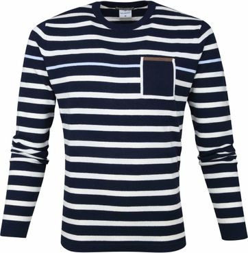 Blue Industry Streep Trui Navy
