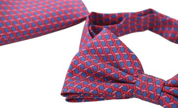 Bow Tie Silk + Pocket Sqaure Blue Pink