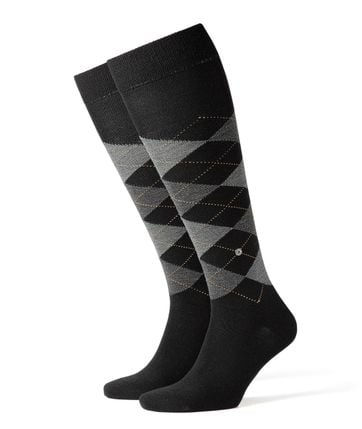 Burlington Edinburgh Knee Socks Black 3000