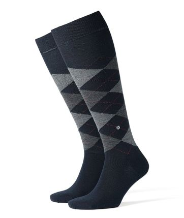 Burlington Edinburgh Knee Socks Dark Blue 6377