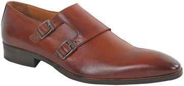 Cognac Leder Schuh Doppel Strap