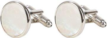 Cufflinks Round Silver Pearl