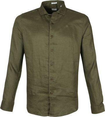 Dstrezzed Hemd Leinen Dunkelgrün