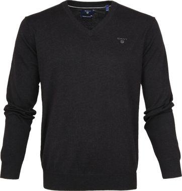 Gant Pullover Premium V-Ausschnitt Dunkelgrau
