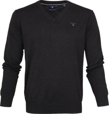 Gant Pullover Premium V-Neck Dark Grey