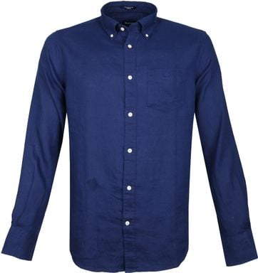 Gant Shirt Linen Dark Blue