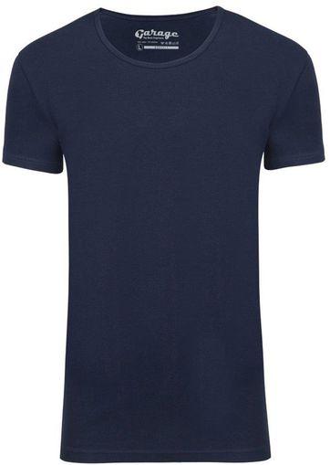 Garage Stretch Basic T-Shirt Dunkelblau Tiefer Rundhals