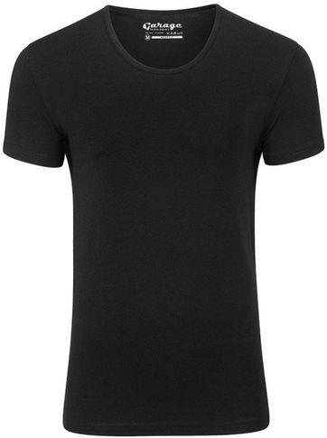 Garage Stretch Basic T-Shirt Schwarz Tiefer Rundhals