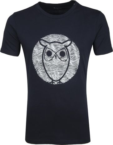 Knowledge Cotton Apparel T-shirt Alder Wave Owl Dunkelblau