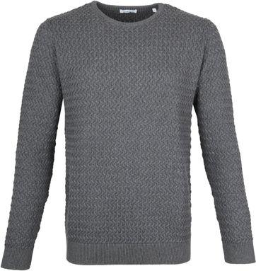 KnowledgeCotton Apparel Pullover Field Dark Grey