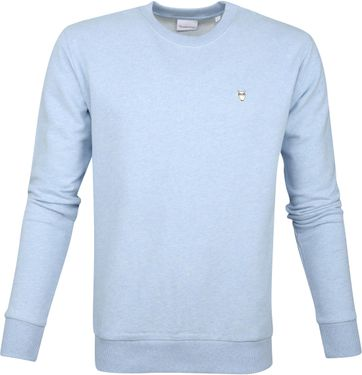 KnowledgeCotton Apparel Pullover Logo Hellblau