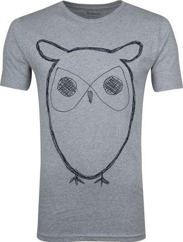 KnowledgeCotton Apparel T-shirt Alder Owl Grey