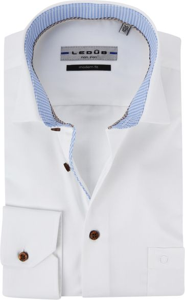 Ledub Hemd Bügelfrei Weiß MF