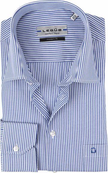 Ledub Hemd MF Streifen Blau