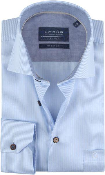 Ledub Hemd Streifen Blau