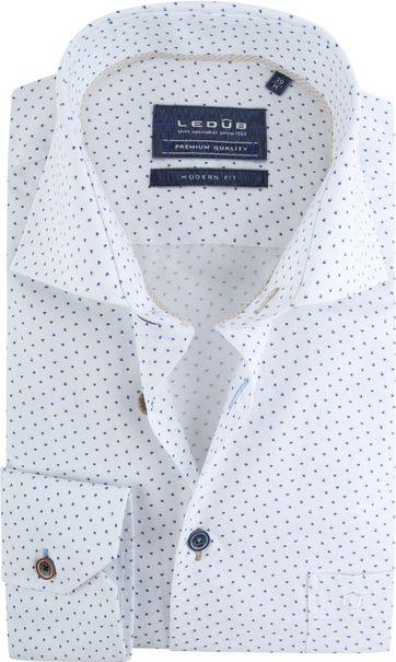 Ledub Hemd Weiß Dessin MF
