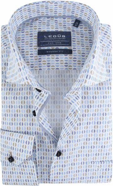 Ledub Shirt Dessin Blue Brown