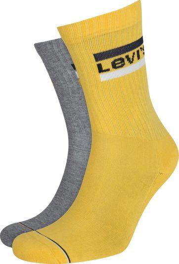 Levi's 2-Pack Sportswear Socken Grau Gelb