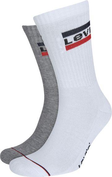 Levi's 2-Pack Sportswear Socken Grau Weiß