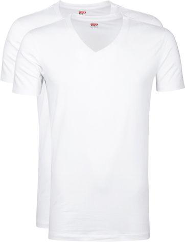 Levi's T-Shirt V-Ausschnit Weiß 2-Pack