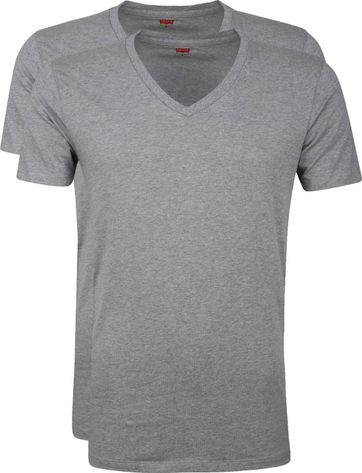 Levi\'s T-Shirt V-Hals Grijs 2-Pack