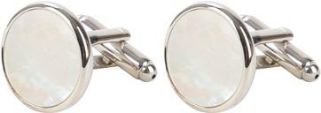 Manchetknoop Rond Silver Pearl