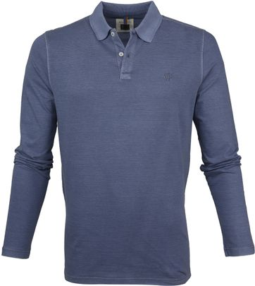 Marc O'Polo Poloshirt LS Stripes Dark Blue