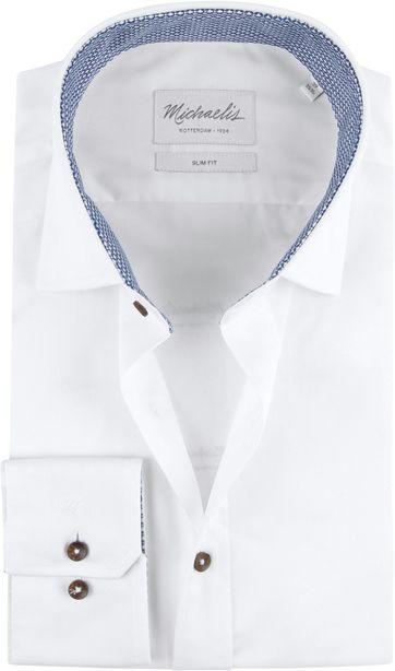Michaelis Hemd Skinny Weiß Twill