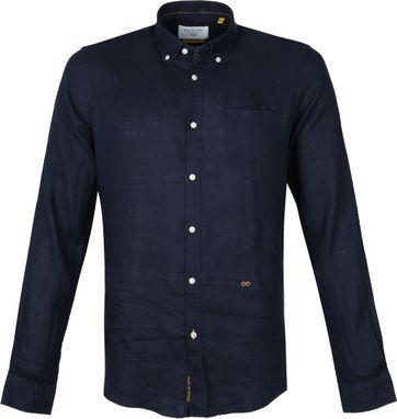 New In Town Overhemd Linnen Donkerblauw