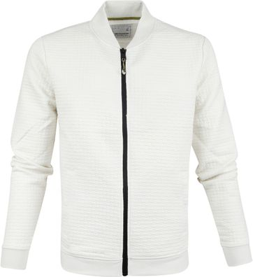 No-Excess Bomber Zip Cardigan Chalk