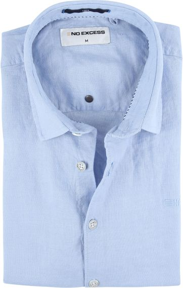 No-Excess Linen Shirt Office Blue