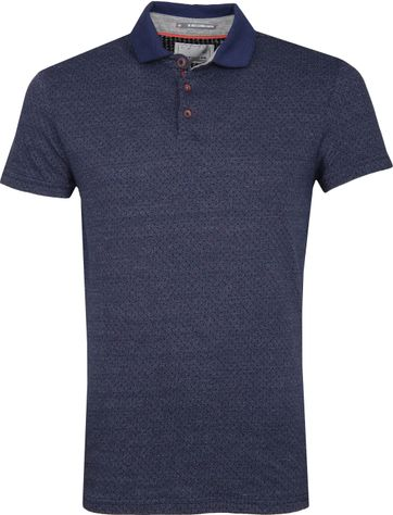 No Excess Poloshirt Jacqurard Spacedyed Blauw