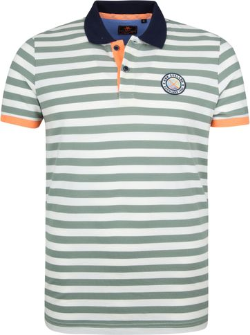 NZA Poloshirt Castor Stripes Green