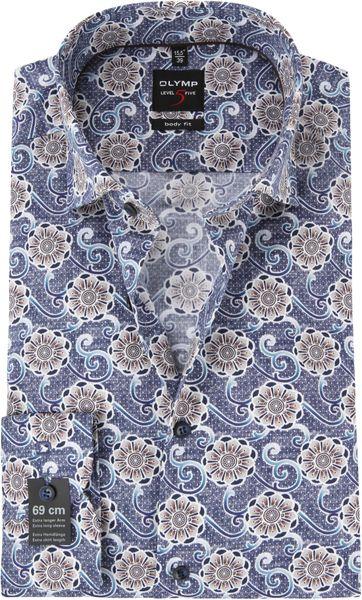 OLYMP Level 5 Shirt SL7 Blue Dessin