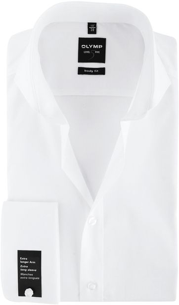 Olymp Level Five Shirt SL7 White Body-White Double Cuff