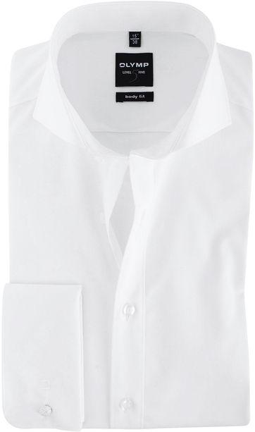 OLYMP Level Five Shirt Wit Body-Fit Dubbelmanchet