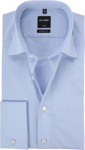 OLYMP Luxor Hemd Modern Fit Doppelmanschette Blau