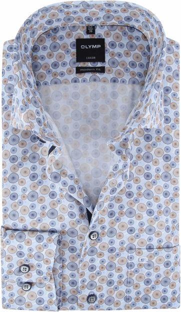 OLYMP Luxor MF Overhemd Blauw Cirkel