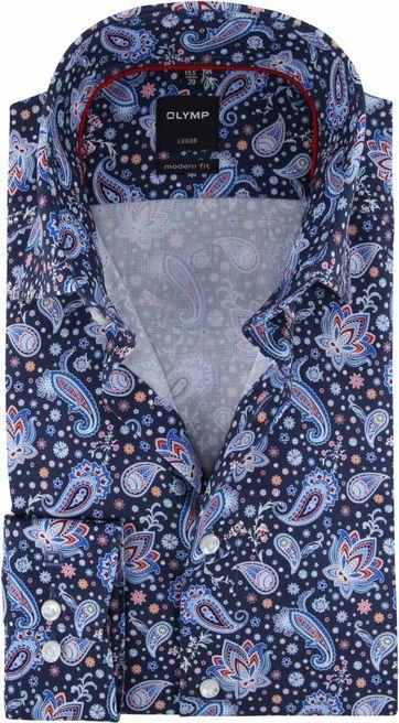OLYMP Luxor MF Overhemd Navy Paisley