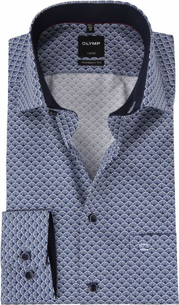 OLYMP Luxor Overhemd Blauw Dessin MF