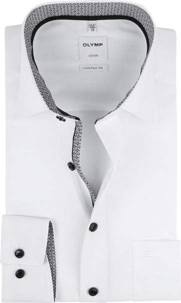 OLYMP Luxor Overhemd Wit Dessin Grijs